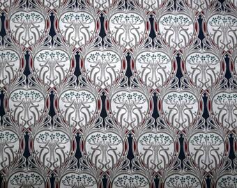 Fabric - Grey and blue Art Nouveau print, pima cotton lawn - dressmaking