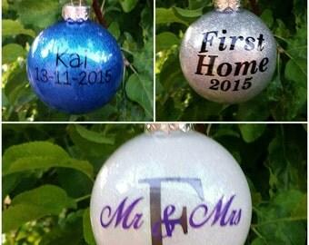 custom glittered christmas ornament