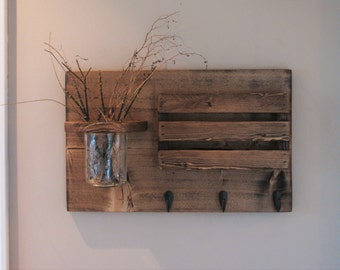 Mail Holder and Jar, Mail Organizer, Rustic Organizer, Key Holder, Personalized Option Available