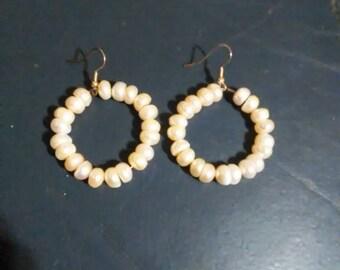 Handmade Freshwater Pearl Hoop Earrings