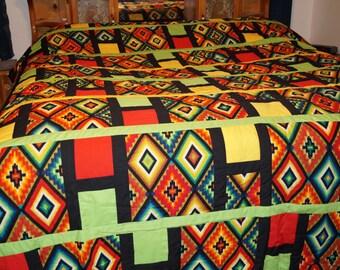 King Size Handmade Southwestern/Geometric Quilt C-4