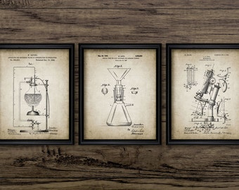Vintage Science Patent Print Set Of 3 - Chemistry - Laboratory - Science Student - Home Decor - Set Of Three Prints #575 - INSTANT DOWNLOAD