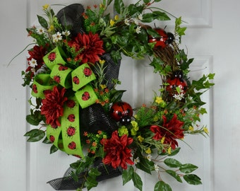 Ladybug Front Door Wreath - Summer Door Wreath - Outdoor Wreaths - Summer Grapevine Wreath - Summer Front Door Wreath - Ladybug Wreaths