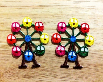 New Set 2pcs. Colorful Ferris Wheel Iron On Patch Embroidered Applique