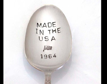 Hand Stamped Spoon Made In the USA Birthday Year Gift For Coffee Lover Vintage Silverware Gifts Under 15 Engraved Personalized Flatware