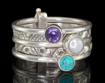 Set of 5 Stack Rings, Amethyst, Turquoise, Pearl, 925 Sterling Silver Stacking Rings #B188