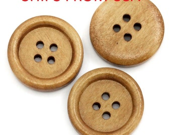 "50 or 100 Medium Brown 3/4"" inch Wood Buttons , Wood Buttons , 20mm Buttons , Bulk Wood Buttons ,  Wholesale Wood Buttons , Wholesale Button"