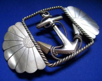 "Belt Buckle; Anchor Belt Buckle, Nautical Belt Buckle, Silver Belt Buckle, Russian .84 Silver Belt Buckle, ""Zolotnik"" Belt Buckle"