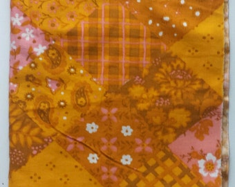 Lovely retro vintage fabric patchwork made in Sweden from the 1970s