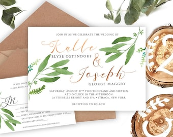 Rustic Wedding Invitation • Forest Invitation • Botanical Design •Woodland Mountain Wedding Invitation