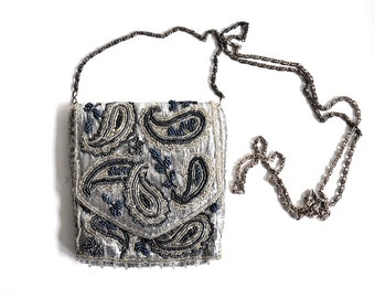 Vintage Beaded Silver Paisley Bag