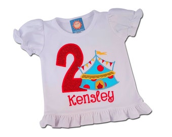 Girl's Circus Birthday Shirt with Number and Embroidered Name - F6