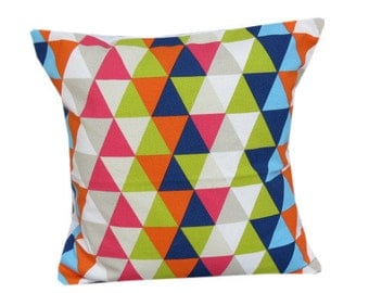 "Geometric And Vibrant Harlequin Kaleidescope 16"" Cushion Cover"