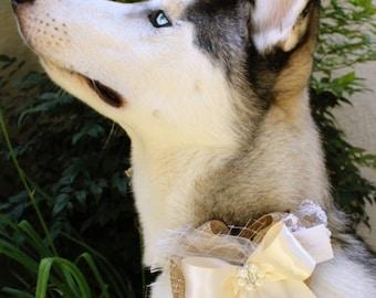 Rustic Burlap and Ivory Satin Fancy Wedding Dog collar, Shabby dog wedding collar, dog wedding attire, dog wedding outfit, dog wedding banda