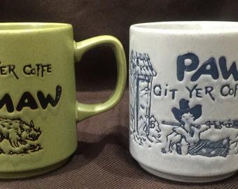 Git yer Coffee Maw/Paw mugs - made in Japan.  Set of 2