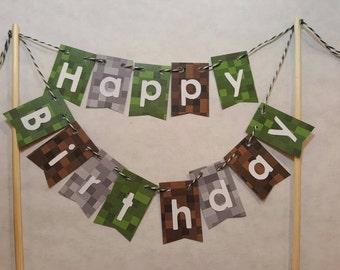 "Cake Bunting, ""Pixel"", Happy Birthday, Mine, Craft, Green, Gray, Brown, Cake Topper, Cake Banner"