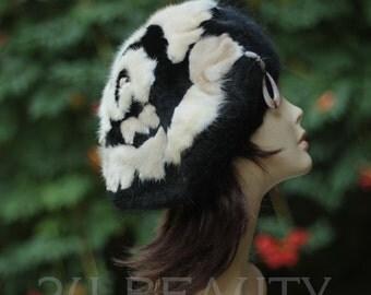 Womens beret wool hat black art handmade wool knit headwear womens hat ladies vintage style beret art Womens hat Wearable art handmade OOAK.