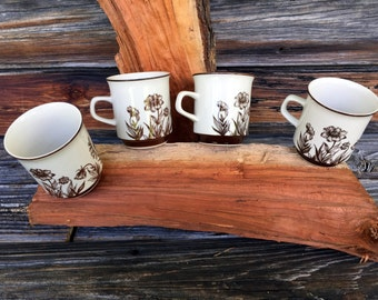 Vintage, Set of 4 Coffee Cups,  Design Four, Stoneware, 700 Indian Summer, Kitchen decor, Home Decor, Made In Japan
