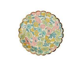 Liberty Poppy & Daisy Small Canape Plates (8), Meri Meri Liberty Party Supplies, 4x4 Tiny Paper Plate with Floral Pattern, Wedding Plate