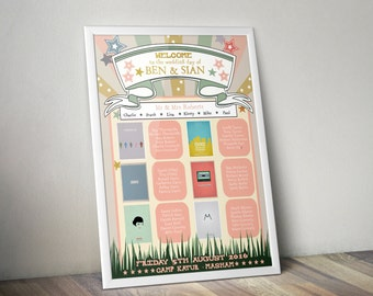 Custom made framed wedding table plan