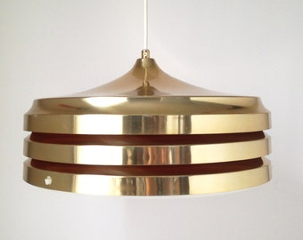 Carl Thore Gold Plated Pendant lamp / Granhaga / Sweden 70s