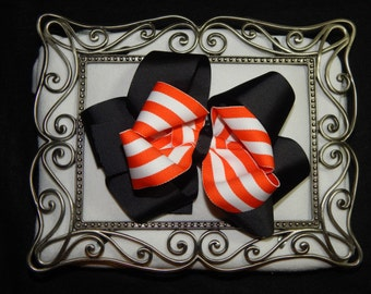 6 Inch Halloween Hair Bow, Black Hair Bow, Orange Hair Bow, Striped Hair Bow, Big Hair Bow, Stacked Hair Bow, Big Halloween Hair Bow