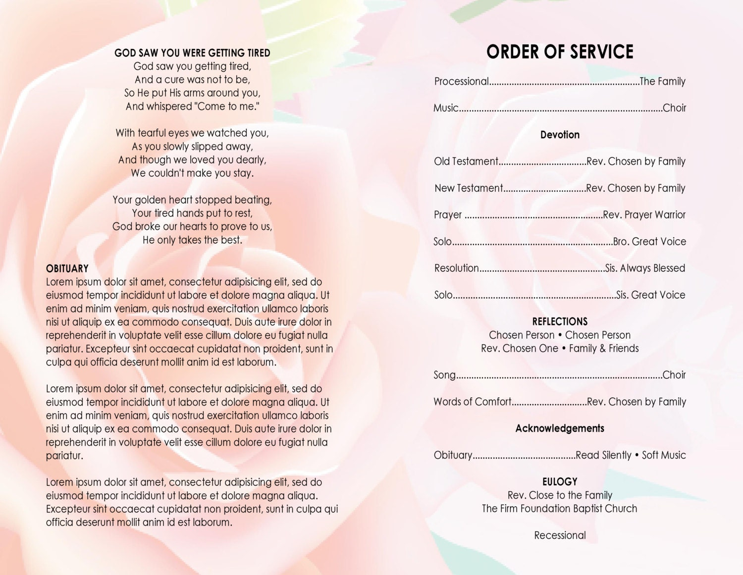 11x17 Pink Rose Printable Funeral Program Template Free Title