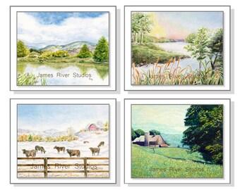 Landscape Painting Landscape Print Set. Landscape Mountain Landscape Farm Landscape Lake Landscape Barn Landscape River Landscape Set of 4.