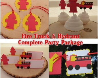 Fire Truck & Hydrant -  Complete Party Package - Black, Red, Yellow, and White
