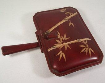 Occupied Japan Maruni Silent Butler Crumb Catcher Lackerware Lacquer Ware Metal     S924