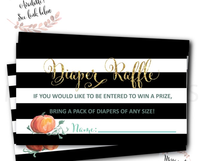 Diaper Raffle // Ticket // Watercolor Pumpkin // Black Stripes // Gold Glitter // Little Pumpkin // Printed // NANTUCKET COLLECTION