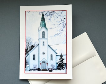 Greeting card, Church in Harbor Springs MI, Christmas Card, blank inside or with a message, 5x7 card, Linen Card Stock, Picture Me Card