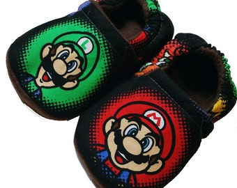Mario Luigi Christmas Handmade Baby Girl's Boy's Shoes Slippers Booties Choose Size 0 - 24 M or 3T-5T  Baby Shower Gift