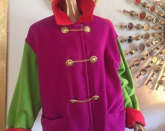 Versace Alpaca wool mix red purple green jacket
