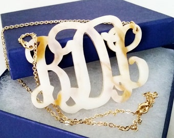 "XL 2.5"" Horn Acrylic Monogram Necklace"