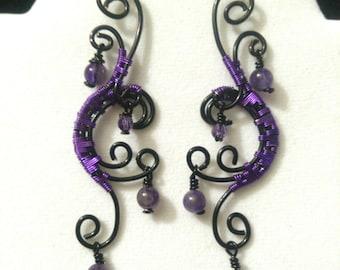 Black Swirl Amethyst Dangle Earrings