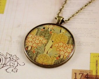 Large round resin women's pendant necklace, Rene Beauclair vintage tree print (statement piece, new, antique bronze, handmade, handcrafted)