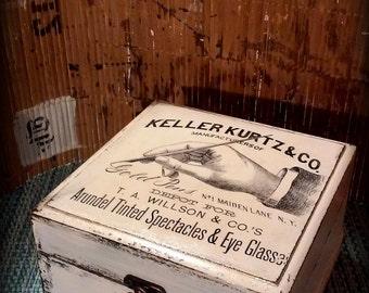 Antique.distressed box. decoupaged box.