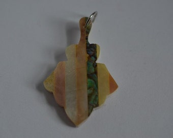 Vintage Mother of Pearl and Abalone Shell Intarsia Pendant (1060389)
