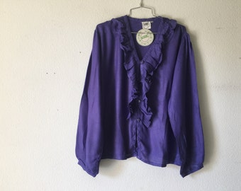 Vintage Blouse - Ruffle Top V Neck Button Up Top Long Sleeve Purple India Shirt
