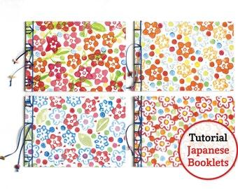 PDF Tutorial Japans Boekbinden. Vier boekjes met verschillende Japanse bindingen, 4 verschillende sierpapieren voor de covers