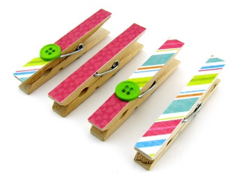 Decorative Clothespin Magnets, Set of 4, Magnetic Clips, Refrigerator, Magnet Clips, Strong Magnets, Buttons, Pink Hearts, Colorful Stripe