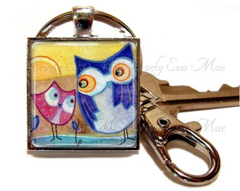 Lauren Alexander, Owl Keychain with Clip, Artwork, Art Lovers, Watercolors, Gift Key Fob with Clasp, Key Chain, Owl Gift, Owl Lover, Keyring