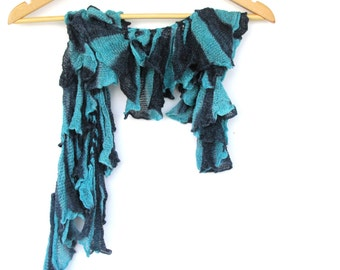 Turquoise Scarf, Ruffle Scarf, Necklace Scarf, Winter Accessories, Lace Scarf, Gift For Her, Womens Accessories, Colorful Scarf, Art Scarf