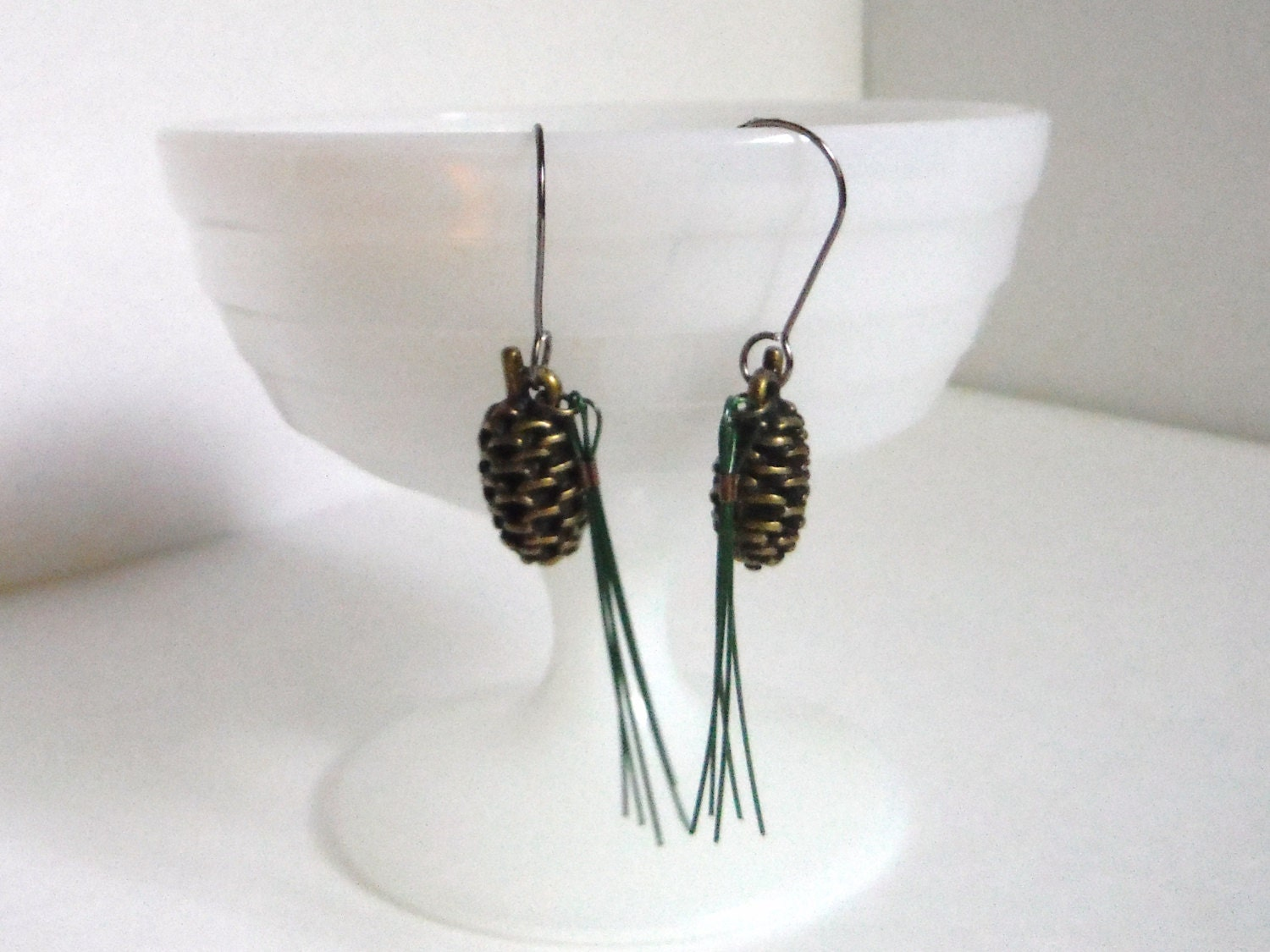 Maine state flower white pine cone Maine woods earrings