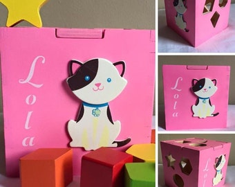 Wooden baby toy cat eco friendly shape sorting box shape sorting toy for babies personalized gift for babies customized toy for one year old