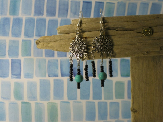 Sunburst Bead Dangle Earrings