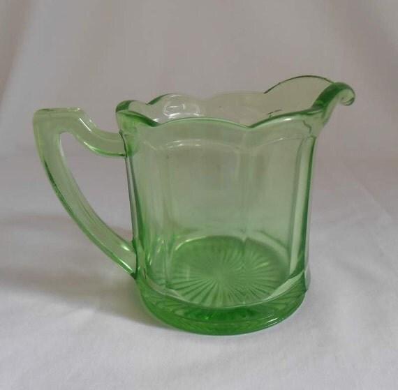 Aunt Polly Green Depression Glass Creamer