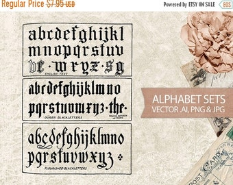 50% OFF SALE Vector Alphabet Set - Antique Letters Typography - Digital Vintage Alphabet Letters Fonts - AI Vector File, png & jpg Instant D