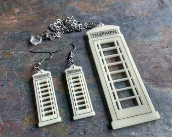 Hull Phonebox earrings or necklace - laser cut acrylic